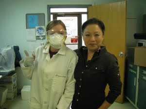 Intern Emma MacDonald with Dr. Sugae Wada at the  National Clonal Germplasm Repository. Photo credit: Erin Gray.